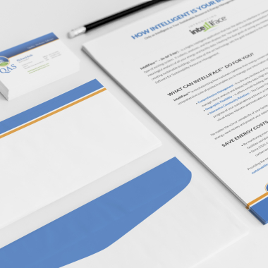 QAS stationary, business card, and letter